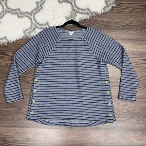 Crown & Ivy Blue Striped Blouse Size Medium